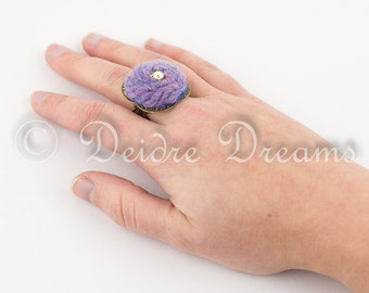 Pastel Felt Ring, Filigree Ring, Purple Boho Ring, Adjustable Ring, Large Statement Ring, Eco Jewelry, Eco Friendly Ring, Hippie Eco Fashion