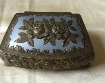 Vintage Jewelry Box / Made in Japan Metal Trinket Box