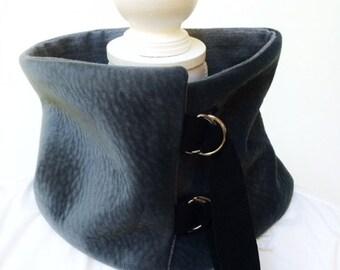 Dark Grey Plush Collar Scarf, Cowl, Neckwarmer, Warm, Remnant fabric, Repurposed leather detail, D Ring buckles