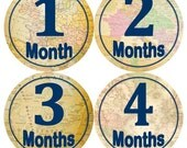 Baby Monthly Milestone Growth Stickers Vintage World Maps Navy Travel Nursery Theme MS835 Baby Boy Girl Shower Gift Baby Photo Prop