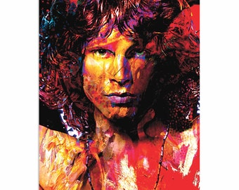 Pop Art 'Jim Morrison Window of My Soul' by Artist Mark Lewis, Colorful Jim Morrison Painting Limited Edition Giclee Print on Metal/Acrylic