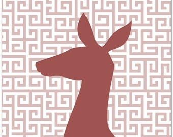 Marsala Decor Doe Head 'Agape Marsala' Greek Pattern Metal Wall Art - Feminine Deer Silhouette, Faux Taxidermy, Contemporary Animal Artwork