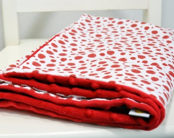 Summer Baby Blanket- Minky Baby Blanket - Strawberry Baby Blanket -  Blanket without linning -  Red, White - ready to ship!