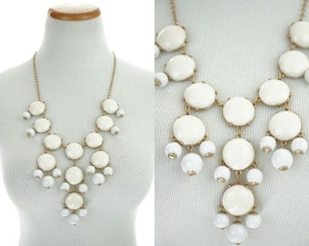 1960s Statement Necklace / Mod Necklace / White / Circles / Dangle