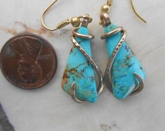 Turquoise Gold Wrapped Earrings