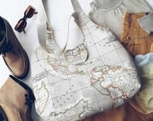 world map print large hobo bag/beige hobo bag/large tote bag/world map purse