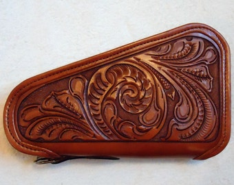 IN STOCK Leather Pistol Case with Hand Tooled Western Floral Pattern, Custom Pistol Case, Zippered Pistol Case