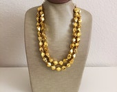 """Sparkly Gold """"Nugget"""" Statement Necklace"""
