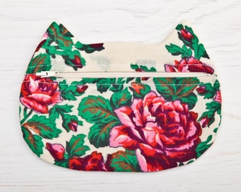 Summer Outdoors, Cosmetic bag, Summer Party, Boho Cosmetics, OOAK Makeup Bag, Ukrainian Floral pattern, Cat Valentines Day Gift