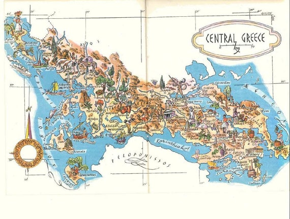 Map of greece delphi and athens map art old map like this item gumiabroncs Images