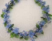 Glass flower necklace. blue necklace. floral necklace; flower jewelry. vintage jewelry