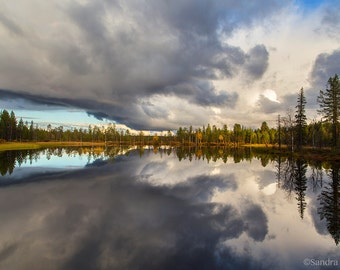 Nature decor, calm lake wall art, mirror sunset in Finland reflection photo, print you can frame for your wall, many sizes up to very large