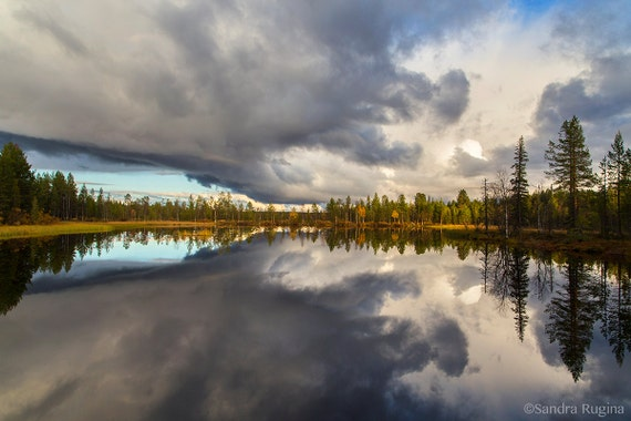 Dramatic mirror sunset in Finland over a lake, mirror water reflection photo, print you can frame for your wall, many sizes up to very large
