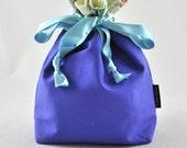 A handmade drawstring bag - Project bag - blue drawstging bag - travel bag - knitting bag