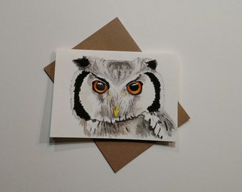 Great Horned Owl Watercolor Painting , Owl Painting, Owl Card