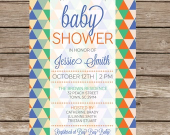 Baby Boy Shower Invitation Party Expecting Triangle Digital Print Printable