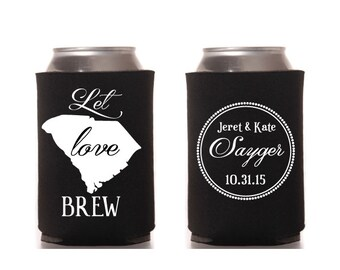 Let Love Brew Wedding Can Cooler Beverage Holder Marriage Classic South Carolina Digital Printable