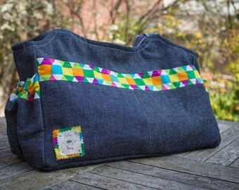 Large denim and harlequin baby change bag, nappy bag, diaper bag, pockets and pouches, baby shower gift, mum to be gift, large bag,