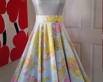 "SALE  Custom Made to Order Peter Rabbit Full Circle Skirt Sz 23""- 40""  SALE"