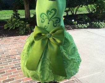 SAMPLE SALE:  St. Patrick's Day Ribbon Rosette & Satin Dog Party Dress