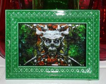 Technological Monstrosity Skull Marble Glass Art