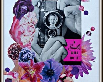 A Smile Will Do It - Original Collage Art Print