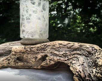 Driftwood candle holder with Thai Lace paper. One of a kind.