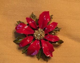 Vintage Red Enamel Flower 1960s ART Brooch
