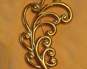 Vintage Large Gold Stylized Feather Plume Brooch - Tone Brand