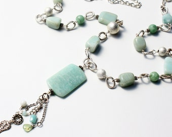 Green-Blue Amazonite Necklace, chain tassel pendant, semiprecious stone, silver finish, boho long versatile,statement, gift for her, 3162