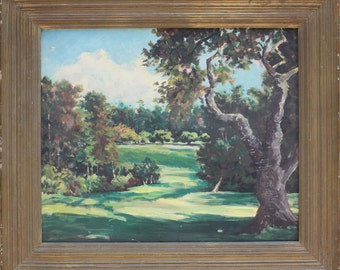 Pebble Beach Golf Course Margie Cate Golfing California Fairway 5 Impressionist original vintage painting Carmel Monterey Ca