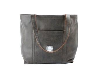 "Brown Leather Bag, Soft Leather Tote, Handmade Womens Bag, Birdbags ""Pelican"" Tote Bag, Large Shoulder Bag"