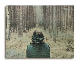 Wild at heart with wolf art print on wood, wood wall decor, wolf art print, dreamy forest art, trees, wood art