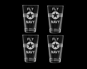 Fly Navy Set of 4 Pint Glasses Naval Aviatior Naval Flight Officer Navy PIlot Naval Aviation