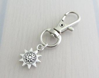 Silver Steampunk Sun Charm Purse Clip, Sun Zipper Pull, Steam Punk Sun Handbag Charm, Sun Bag Charm, Celestial Bag Charm