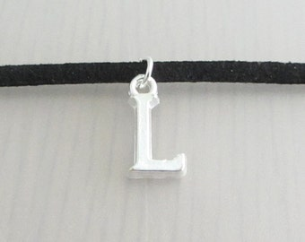 Silver Initial Charm Black Faux Suede Choker Necklace, 3mm Width Black Faux Suede Choker Necklace, Personalised Letter Charm Choker