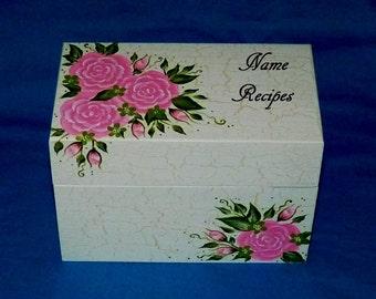 Personalized Recipe Box Custom Painted Wood Heirloom 4x6 Recipe Card Box Decorative Shabby Kitchen Organizer Wedding Advice Guest Book Box