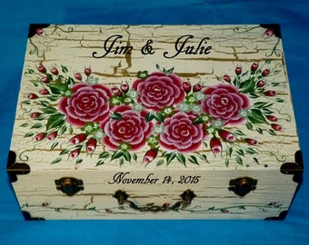 Custom Painted Wedding Keepsake Suitcase Box Personalized Wood Advice Box Gold Gift Card Box Custom Guest Book Box Romantic Red Roses White