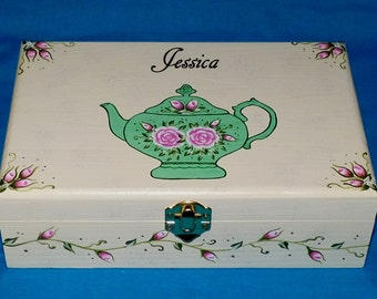 Elegant Tea Box Wood Tea Chest Organizer Hand Painted Mint Green Personalized Custom Victorian Tea Pot Pink Roses Anniversary Gift