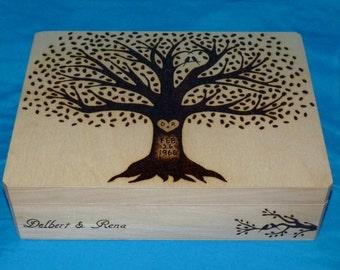 Decorative Rustic Wood Burned Wedding Box Wooden Suitcase Favor Box Wedding Tree Keepsake Large Guest Book Box Personalized Love Birds Gift