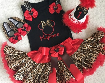 3 pieces-Personalised Minnie mouse Inspired Red Leopard outfit-Include Personalised Top,super fluffy skirt and matching headband