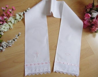 Christening/baptism scarf lace,various colors,100% cotton