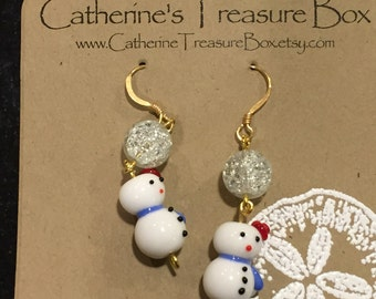 Handmade Clear Crackle Glass and Glass Snowman Bead Earrings on Gold Plated French Hook Ear Wires
