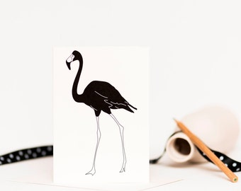 Flamingo Blank Greetings Card - Any Occasion Card - Card for Boyfriend - Card for Dad - Card for Goth - Card for Him - Bird Card - Note Card