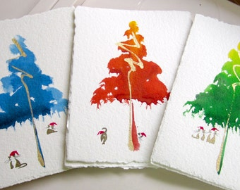 Hand-Painted Greeting Card Set. Pack of 6. Cats and a colorful Christmas Tree. One of a Kind Watercolor. Great Christmas Gift