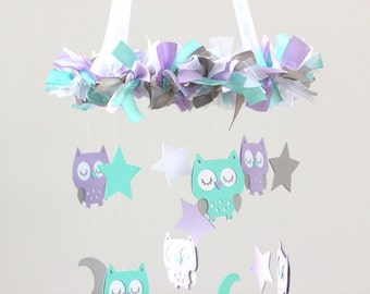 Owl Nursery Mobile in Lavender, Aqua, White & Gray- Baby Mobile, Baby Shower Gift