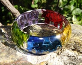 Indian Elephant Colored Sequin in Resin Bangle Bracelet