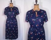 1970s navy fruit print dress • 70s ink blue novelty print day dress • vintage apple of my eye dress