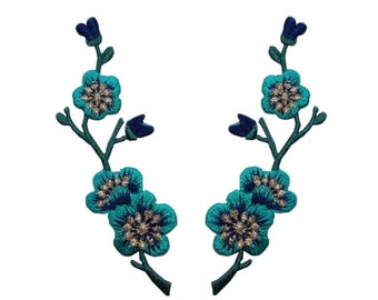 ID #6587AB Set of 2 Mirror Teal Blue Flower Bud Branch Patches Iron-On Appliques