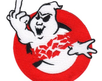 F-Off Ghostbuster Logo Middle Finger Ghost Kreepsville Iron On Applique Patch